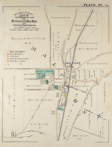 1881 PA Railroad Map of Malvern