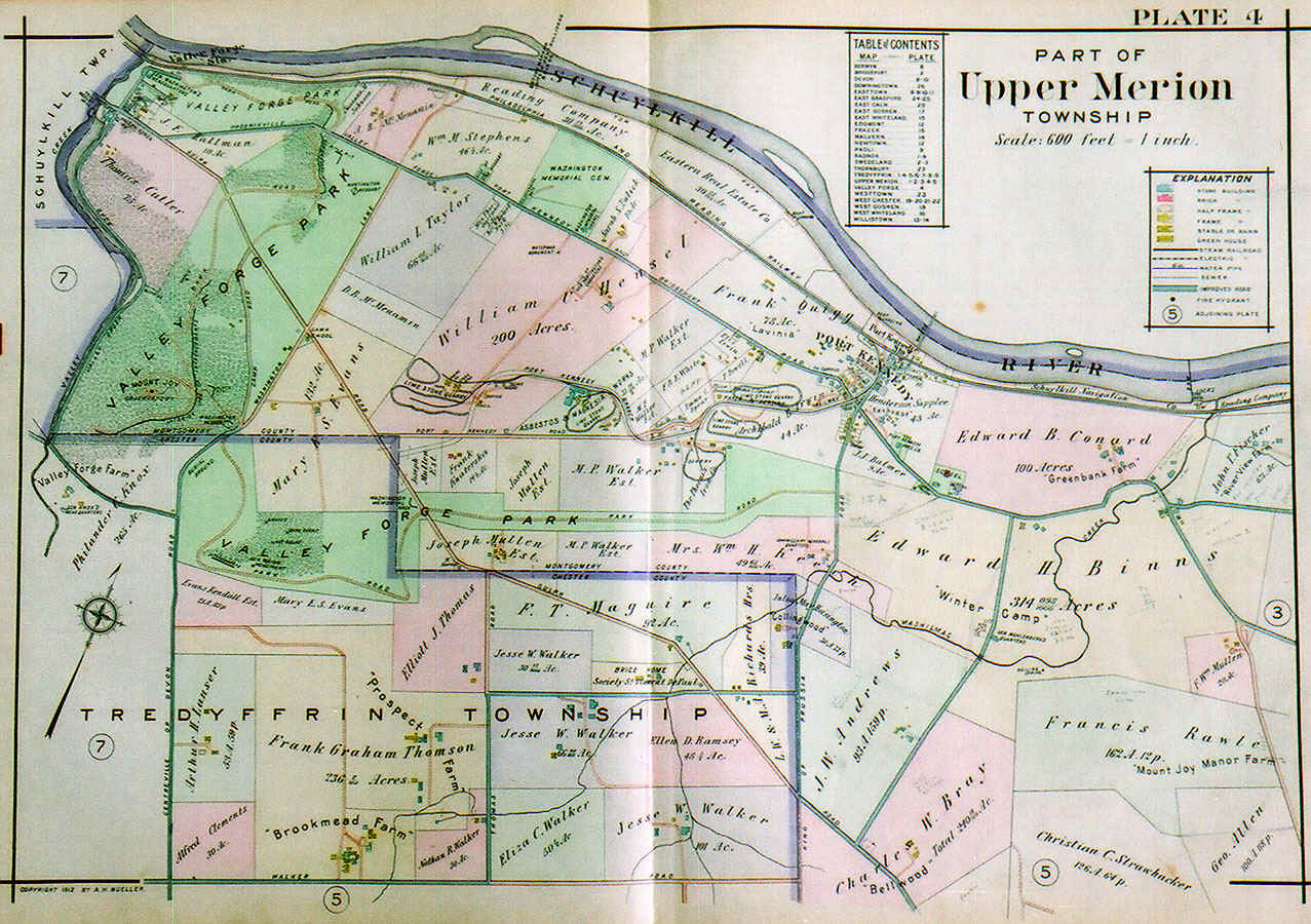 Upper Merion Township map from the Pennsylvania Railroad