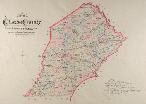 Map of Chester County from the 1883 Breous Atlas