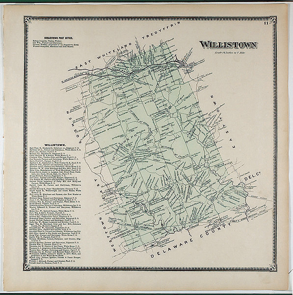 Map of Willistown Township from Witmers 1873 Atlas